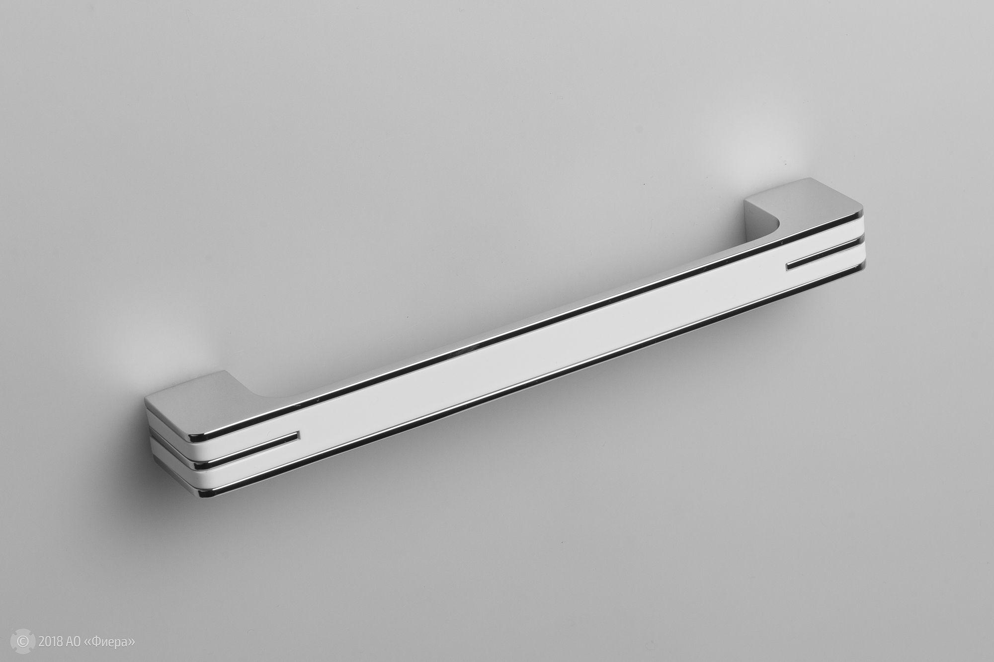 Monohrome ручка-скоба 160 мм хром полированный с белой вставкой: купитьв интернет-магазине Fierashop